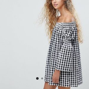 ASOS Gingham Bardot Bell Sleeve Dress